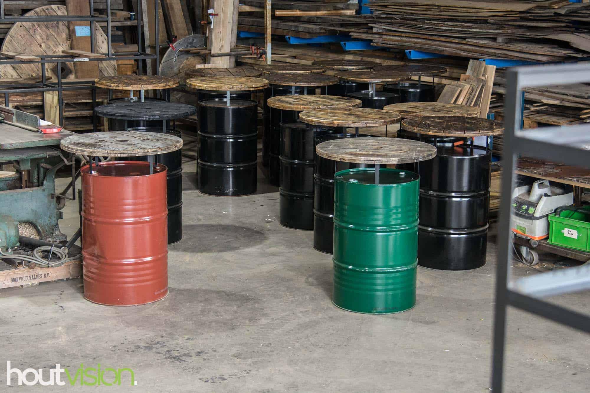 statafel olievat diverse kleuren
