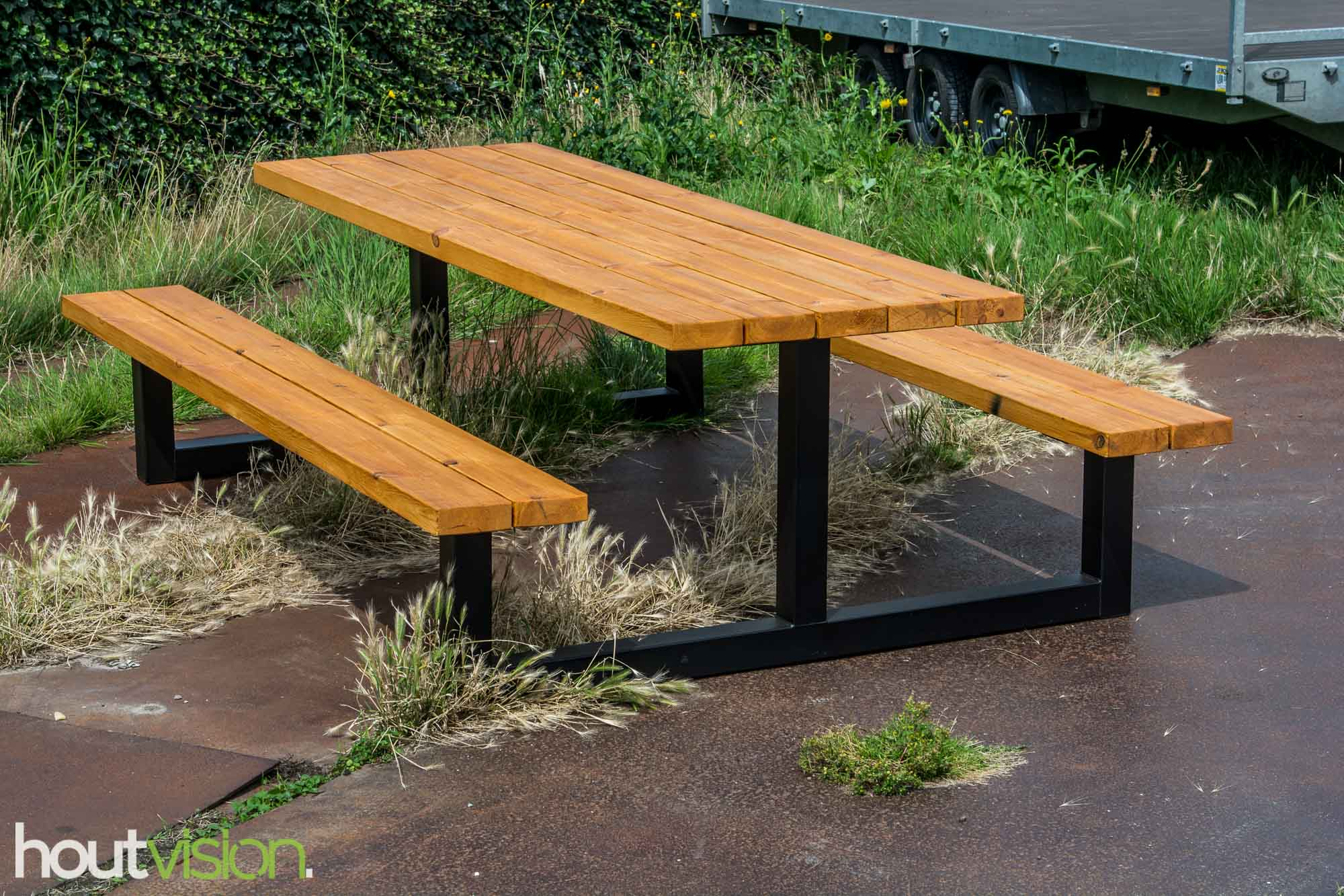 picknicktafel staal hout